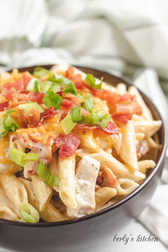 Chicken bacon ranch pasta in a bowl.