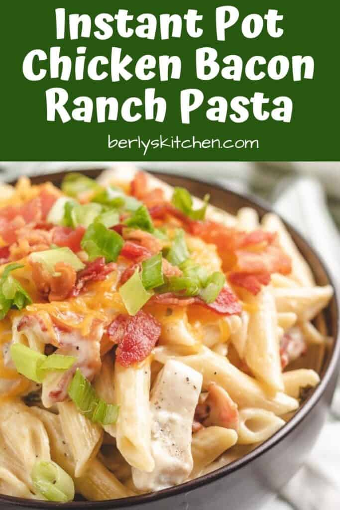 Pasta with chicken, bacon, and cheese.