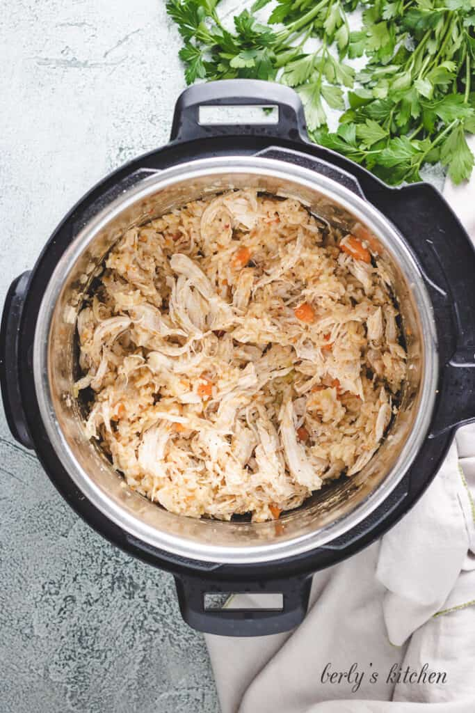 Shredded chicken in an Instant Pot.