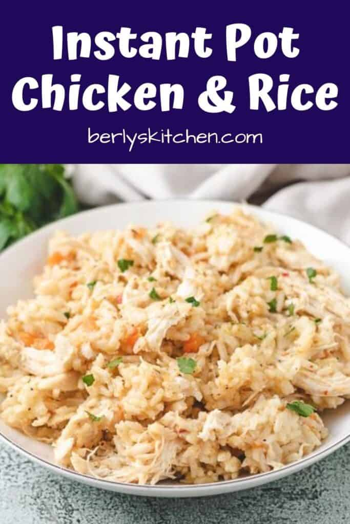Close up of chicken and rice in a bowl.