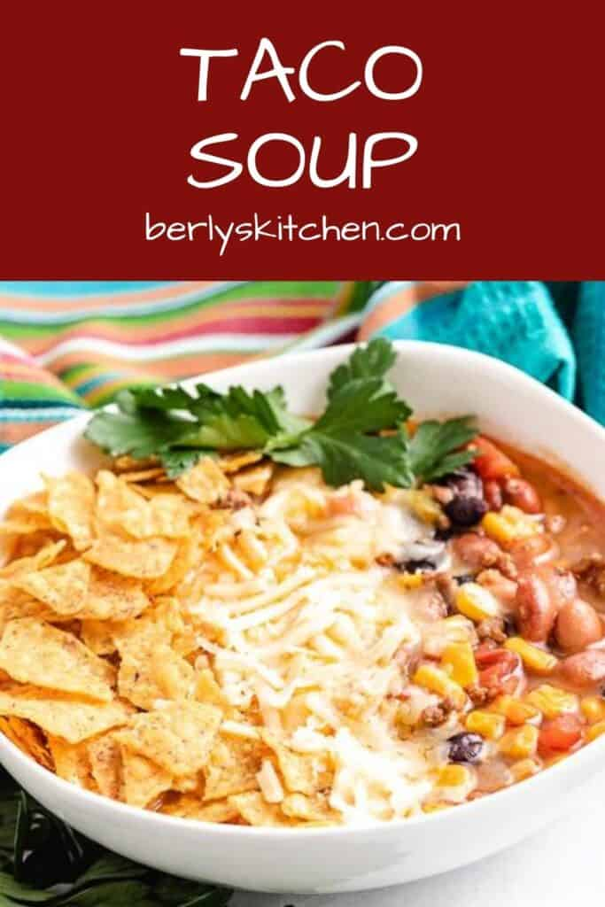 The stove top taco soup served with fresh cilantro.