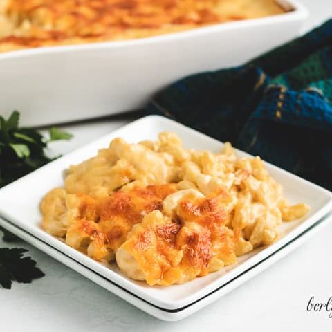 The 3 cheese mac and cheese in a square bowl.