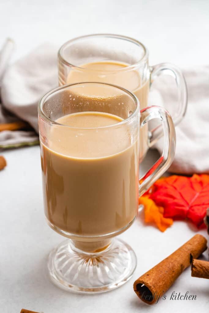 Fresh brewed coffee added to the mug.