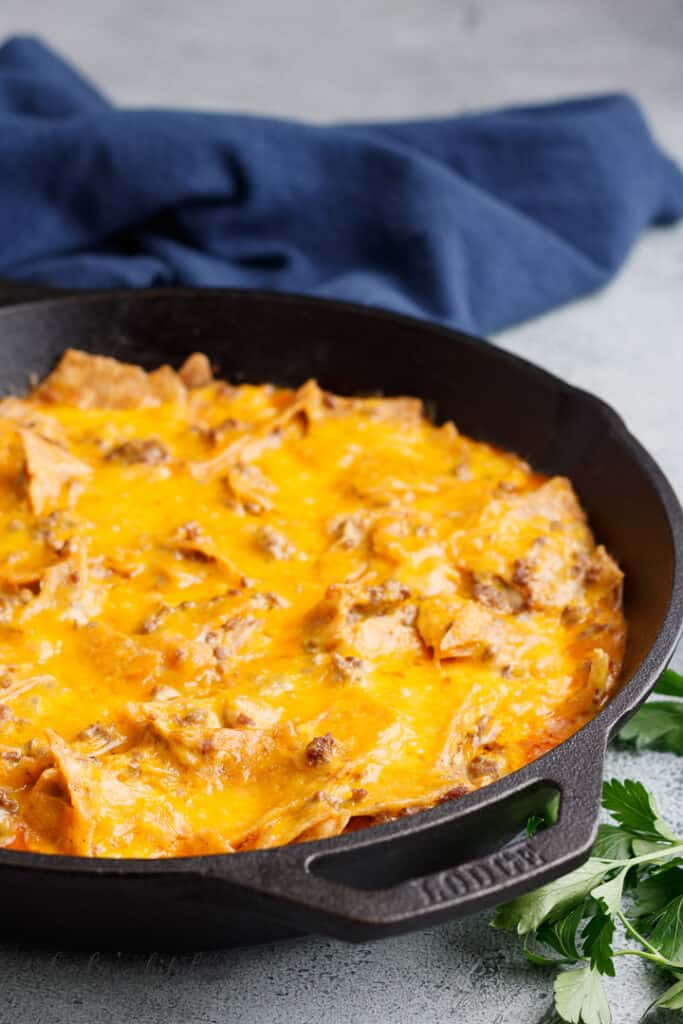 Cheesy Tex-Mex casserole in a pan.