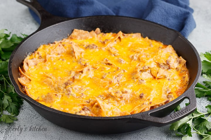 Mexican casserole in a cast iron skillet.