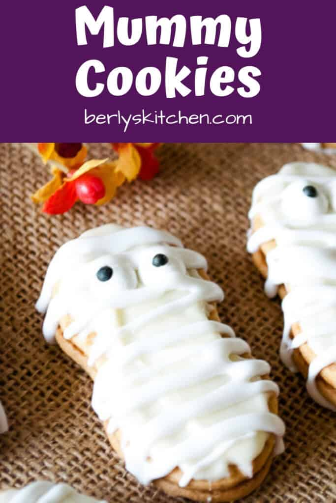 A close-up of the Nutter Butter mummy cookies.