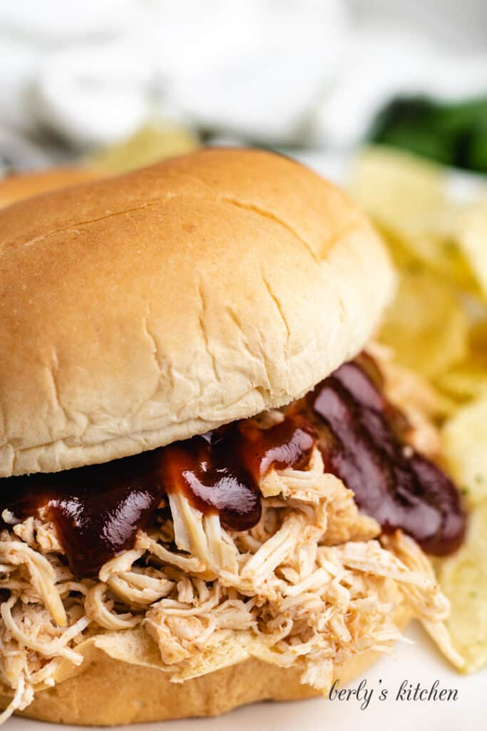 A close-up view of the finished chicken sandwich.
