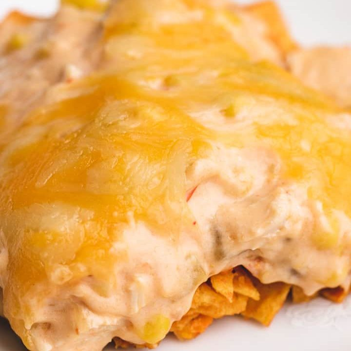 A close-up view of the cheesy casserole on a plate.