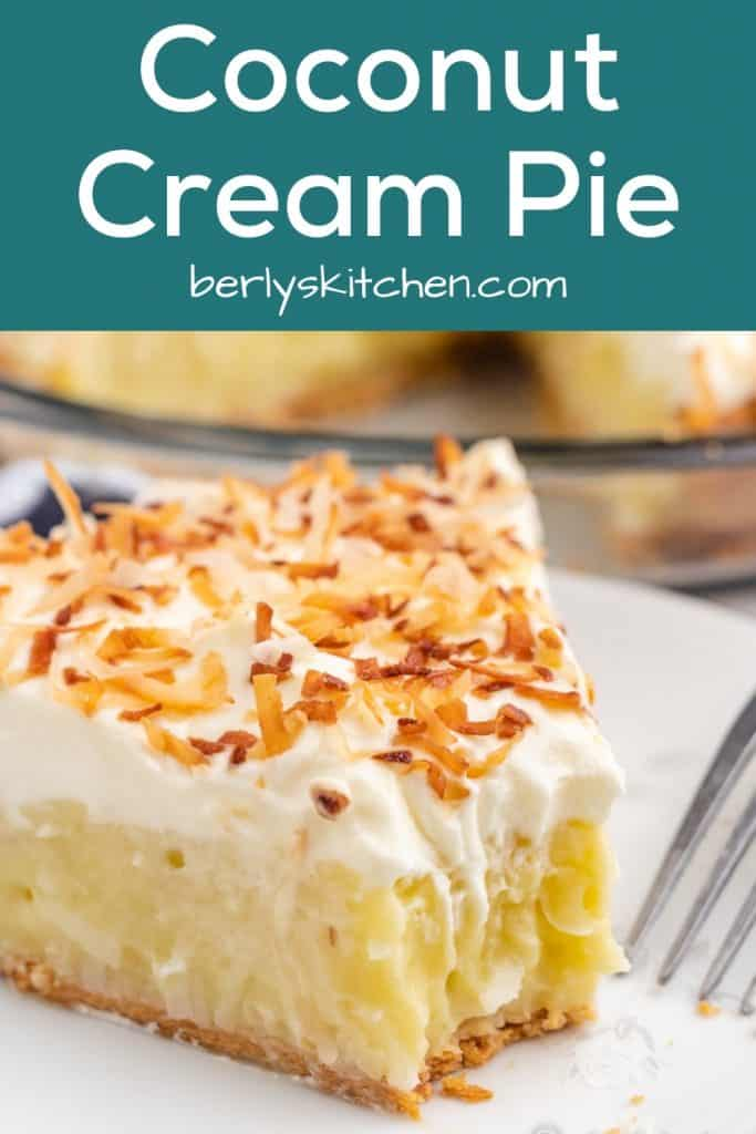 A fork removing a bite from the coconut cream pie slice.