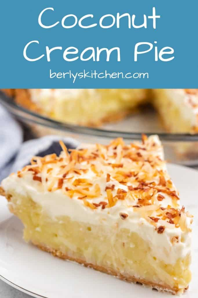 A side photo of coconut cream pie showing all the layers.