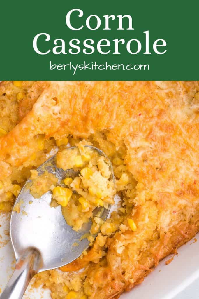 Corn pudding scooped out of a pan.