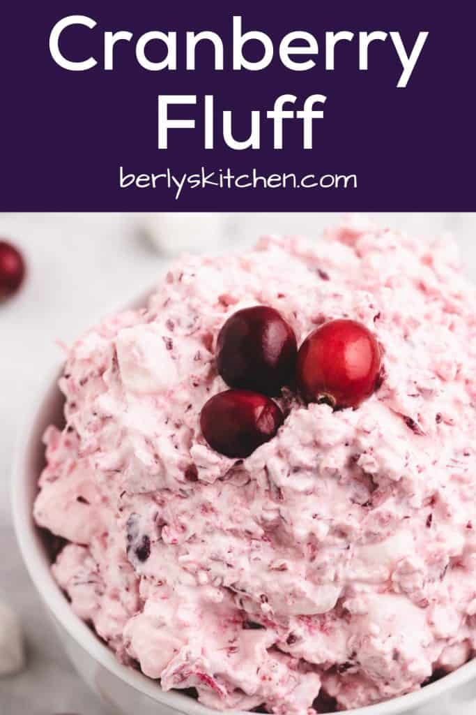 Cranberry fluff served in a small white bowl.