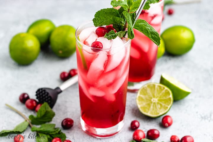 Two cranberry mojitos garnished with mint and cranberries.