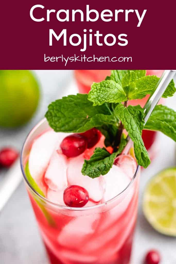 A top-down view of the finished cranberry mojitos.
