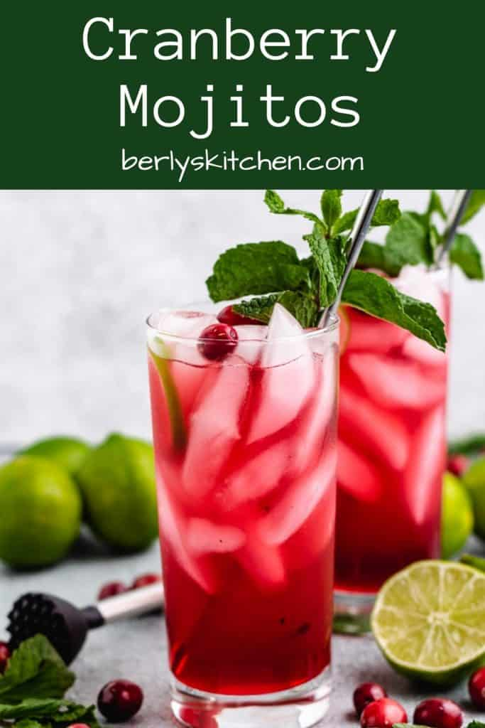 Cranberry mojitos served with fresh mint and cranberries.