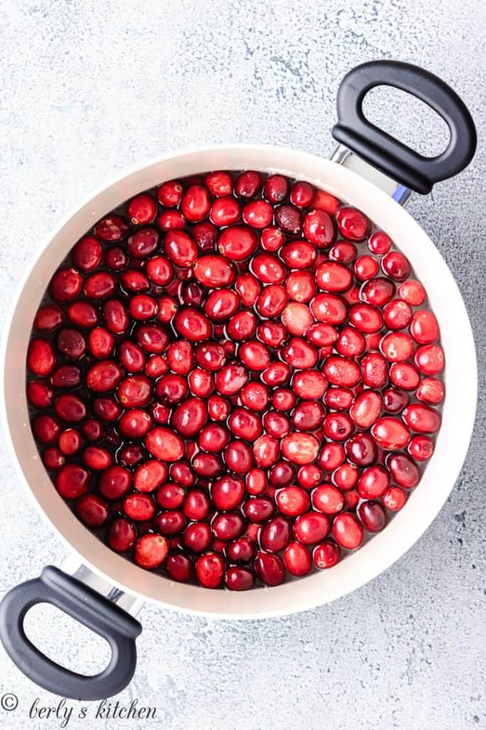 Water, cranberries, and sugar in a stockpot.
