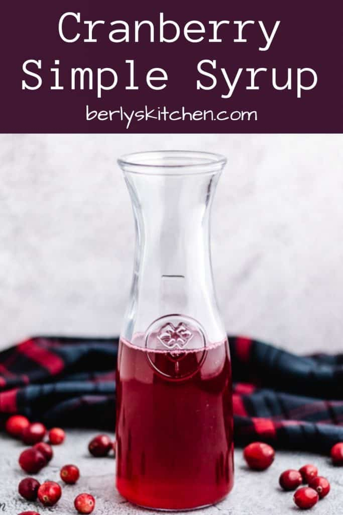 The fresh cranberry syrup served in a pitcher.