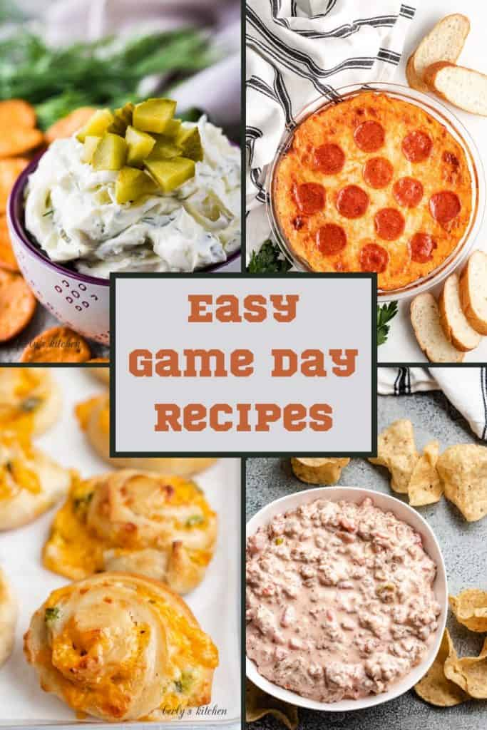 Several photos in collage form of easy game day recipes.