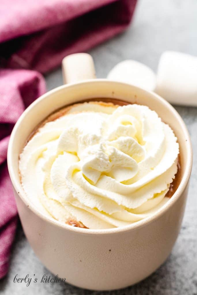 Whipped topping added to the hot chocolate.
