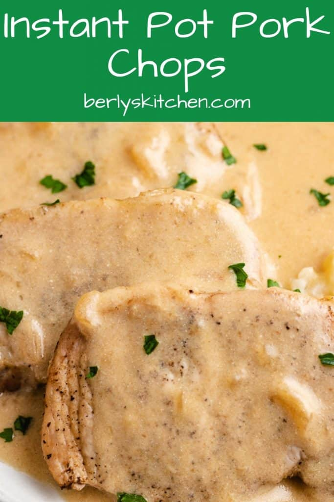 Close-up photo of the Instant Pot pork chops with sour cream gravy.