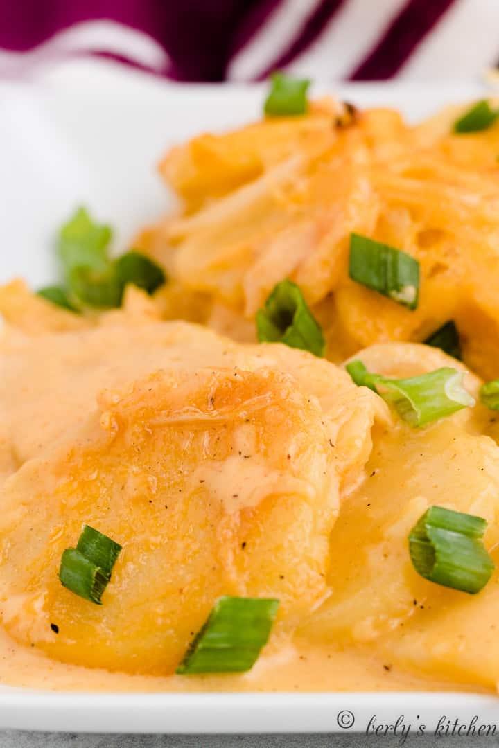 A close-up photo of the creamy scalloped potatoes.
