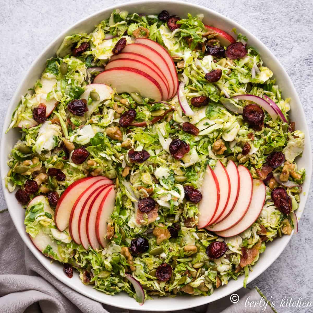 An aerial view of the shaved brussel sprout salad.