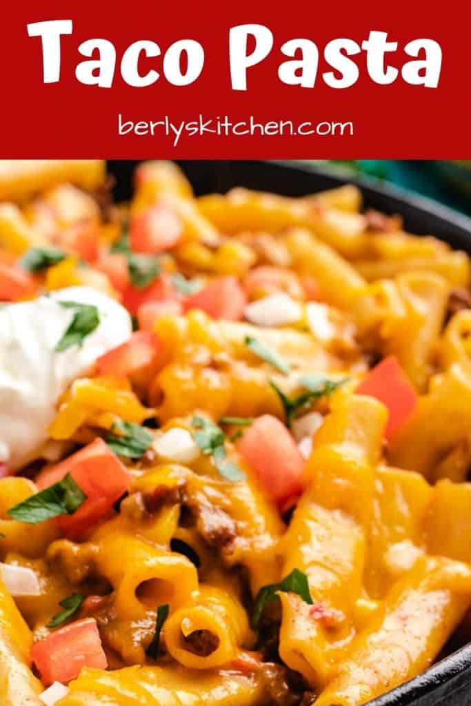 A close-up photo of the cheesy taco pasta.