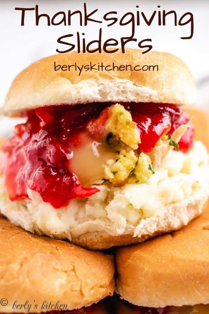A Thanksgiving slider made with turkey and all the fixings.