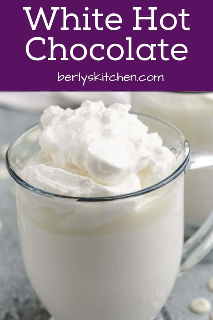 A close-up of the finished white hot chocolate.