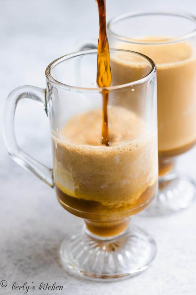 Coffee being added to the cream and butterscotch.