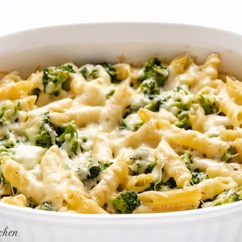 The finished broccoli cheese pasta bake topped with melted Parmesan.