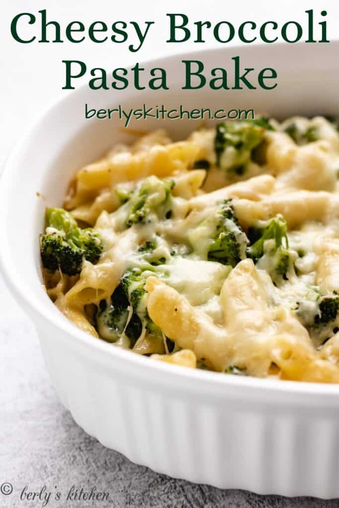 Broccoli cheese pasta bake fresh from the oven.