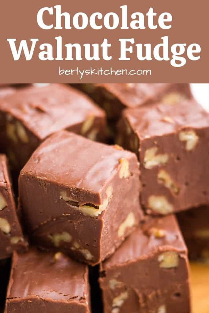 An up-close photo showing the chocolate walnut fudge.