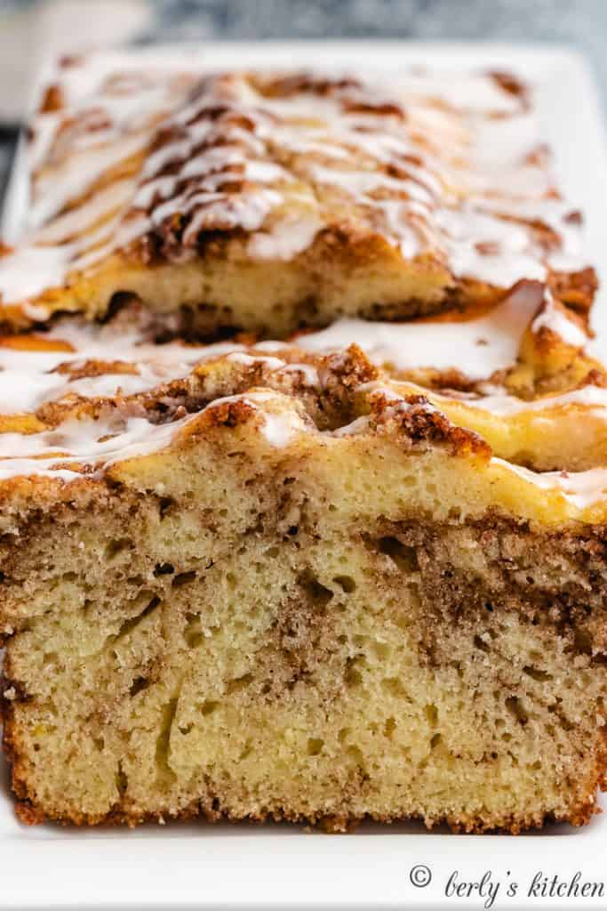 An up-close view of the cinnamon quick bread.