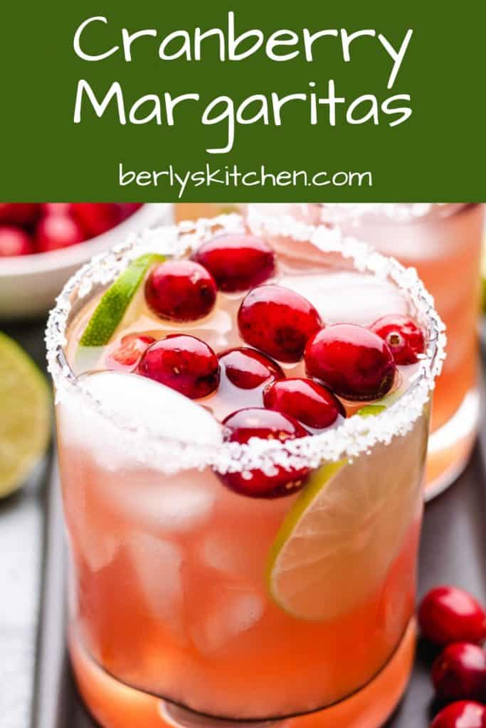 An up-close view of a finished cranberry margarita.