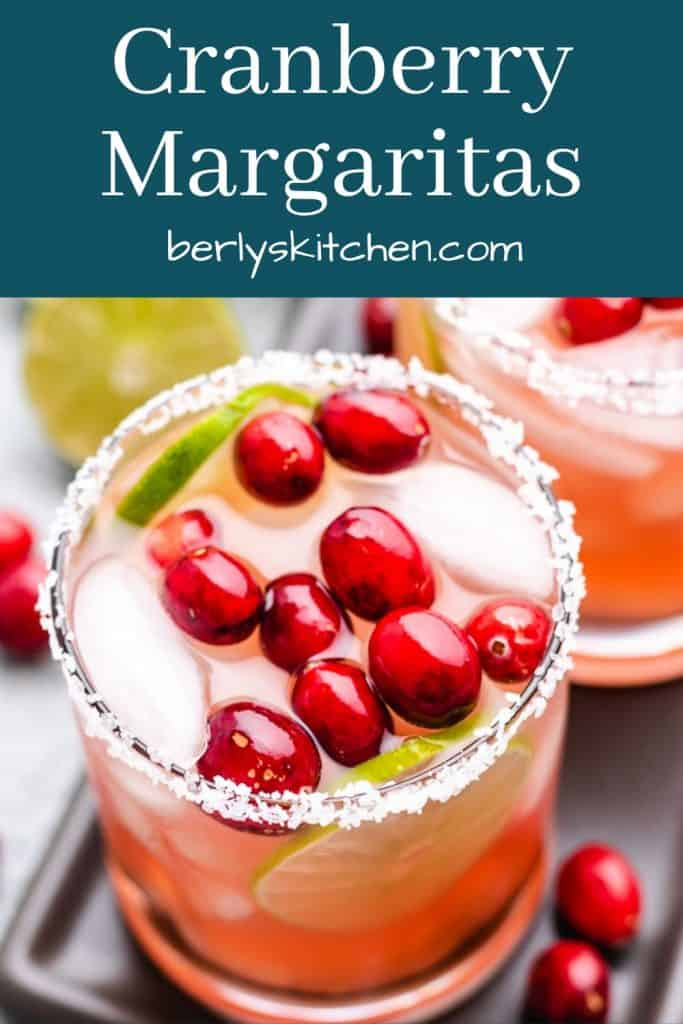 An aerial view of garnished cranberry margarita.