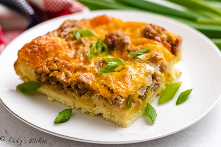 A serving of the crescent roll breakfast casserole on a plate.
