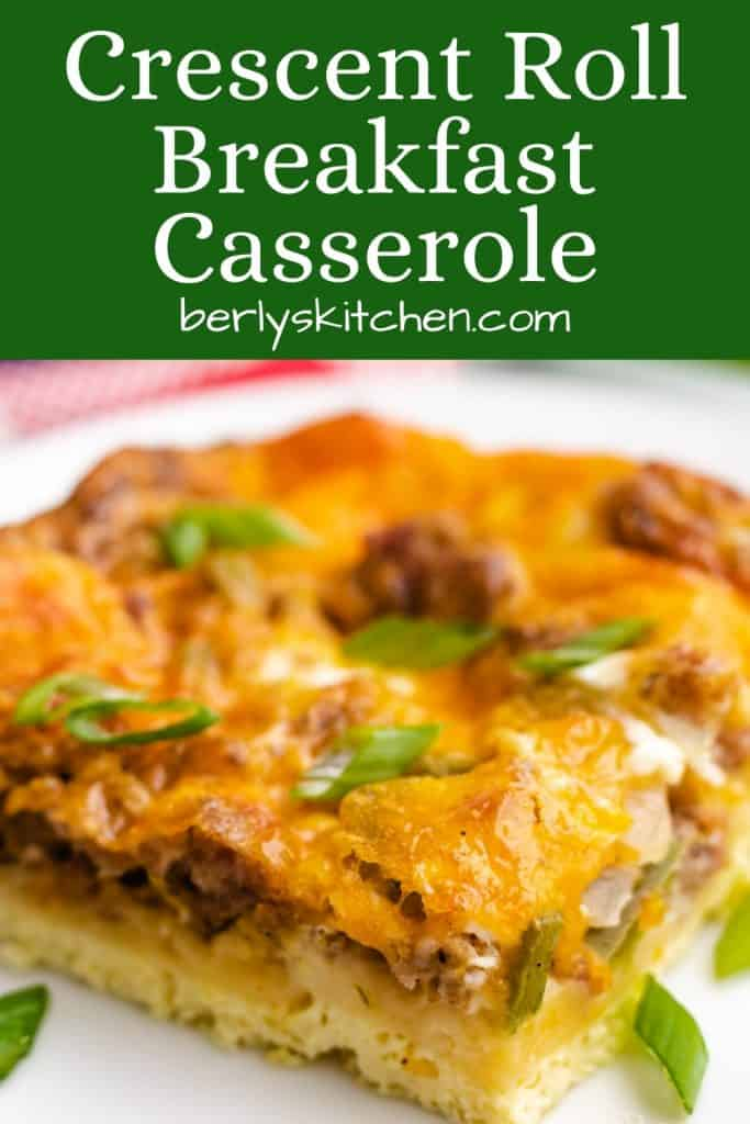 A close-up of the crescent roll breakfast casserole.