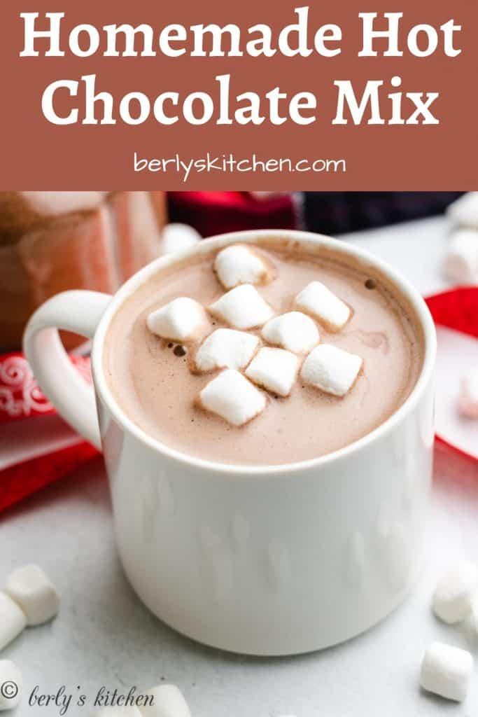 Hot cocoa in a white mug.