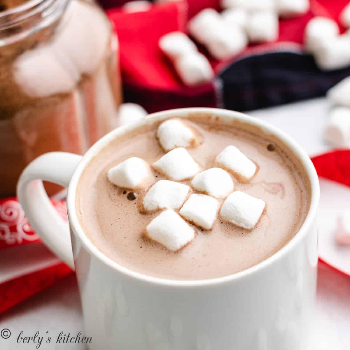 Mug of hot chocolate next to mix.