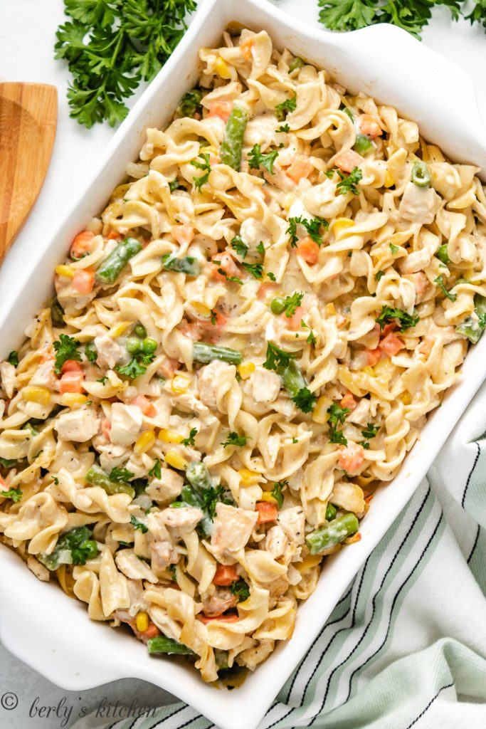 Chicken noodle casserole in a baking dish.