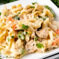 Close up of chicken noodle casserole on a plate.
