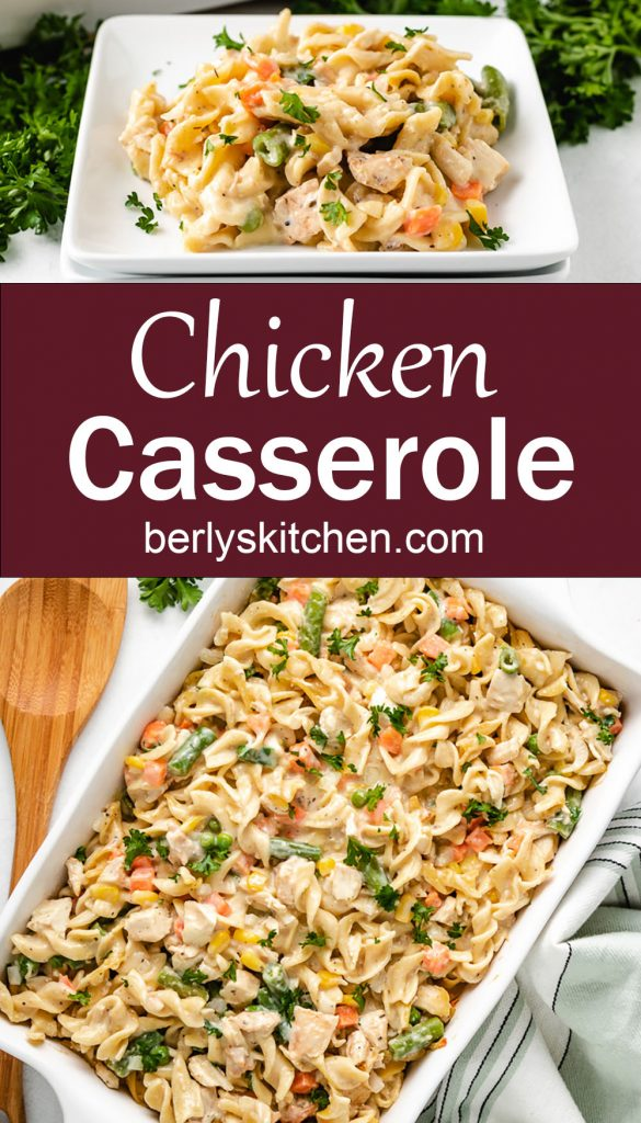 Collage of chicken casserole photos in a baking dish.