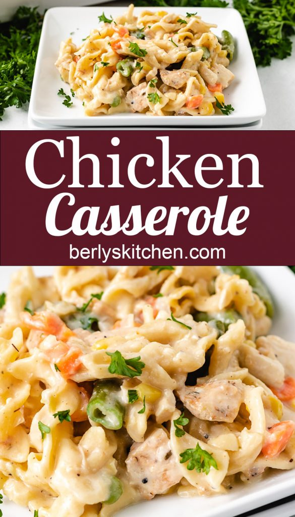 Two collage style photos of chicken casserole.