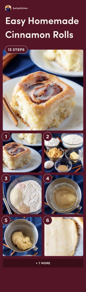 Collage photos of the process of making cinnamon rolls.