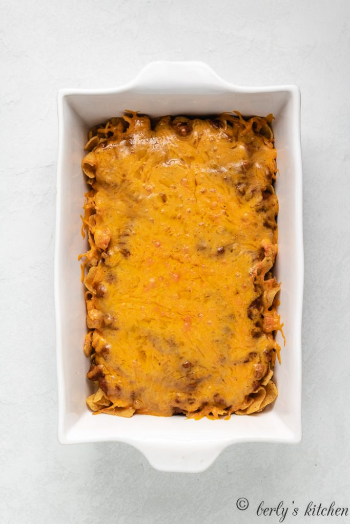 The frito pie has baked and is ready to serve.