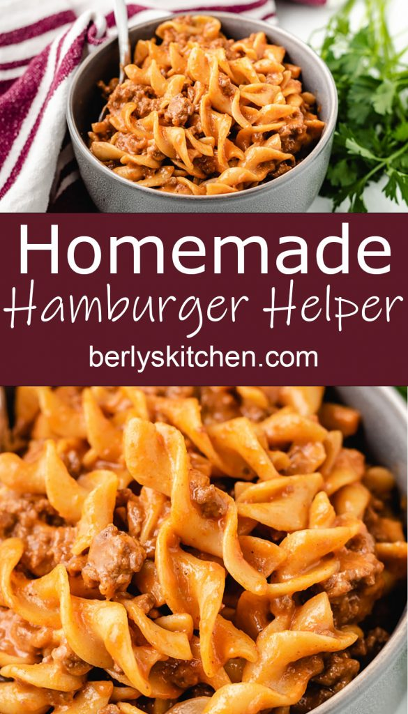 Two stacked photos showing homemade hamburger helper in bowls.