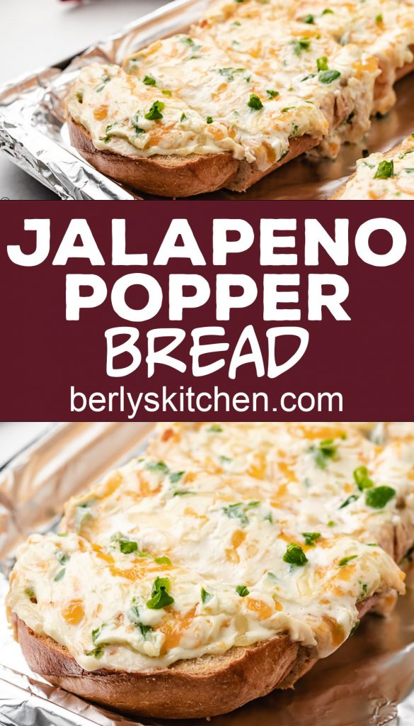 Two stacked photos of the baked jalapeno popper bread.