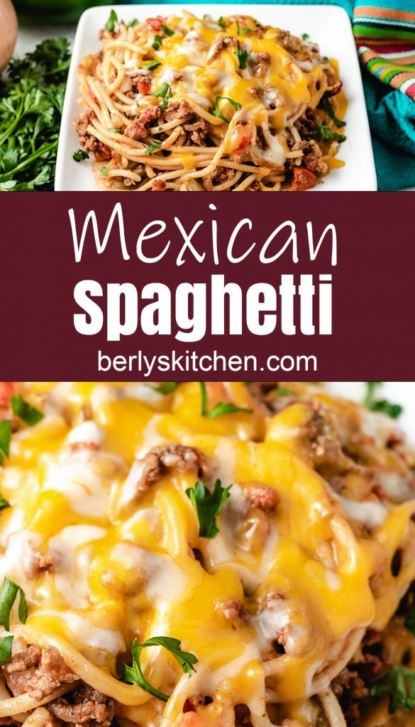 Mexican spaghetti with melted cheese.