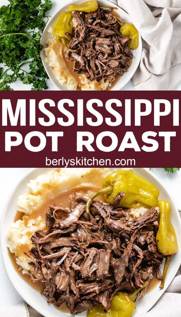 Two photos in a collage of Mississippi Pot Roast on gray plates.
